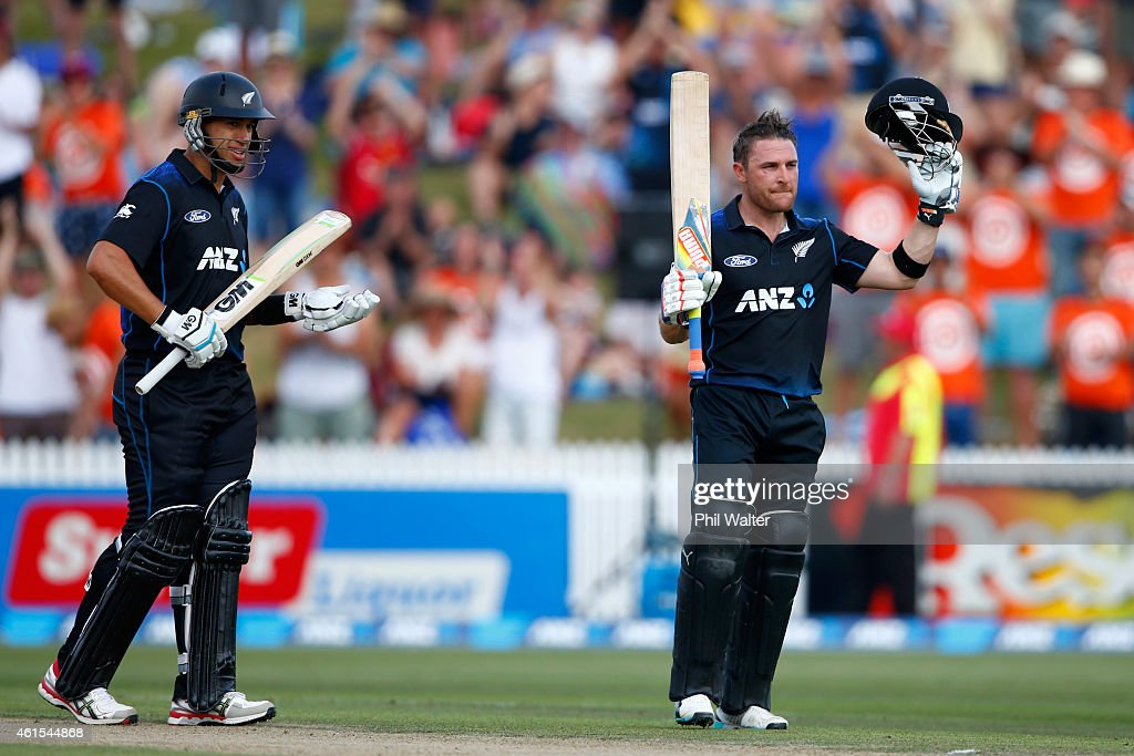 <a gi-track='captionPersonalityLinkClicked' href=/galleries/search?phrase=Brendon+McCullum&family=editorial&specificpeople=208154 ng-click='$event.stopPropagation()'>Brendon McCullum</a> of New Zealand celebrates his century as <a gi-track='captionPersonalityLinkClicked' href=/galleries/search?phrase=Ross+Taylor&family=editorial&specificpeople=845922 ng-click='$event.stopPropagation()'>Ross Taylor</a> (L) watches on during the One Day International match between New Zealand and Sri Lanka at Seddon Park on January 15, 2015 in Hamilton, New Zealand.