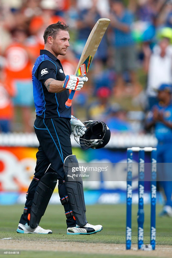 Brendon McCullum of New Zealand celebrates his century during the One Day International match between New Zealand and Sri Lanka at Seddon Park on...
