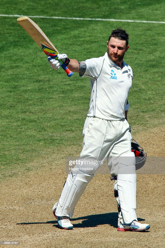 Brendon McCullum of New Zealand celebrates his double century during day four of the 2nd Test match between New Zealand and India on February 17 2014...