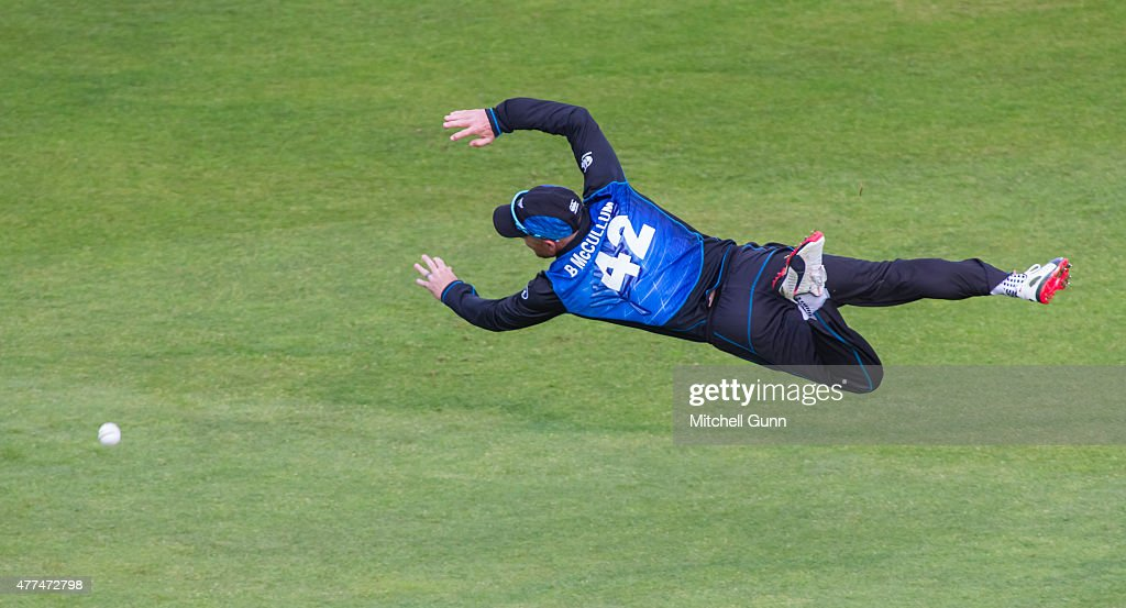 Brendon McCullum of New Zealand dives to attempt to catch the ball during the fourth ODI Royal London OneDay Series 2015 between England and New...