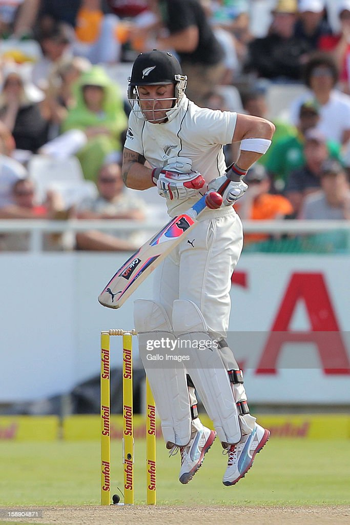 <a gi-track='captionPersonalityLinkClicked' href=/galleries/search?phrase=Brendon+McCullum&family=editorial&specificpeople=208154 ng-click='$event.stopPropagation()'>Brendon McCullum</a> of New Zealand during day 2 of the 1st Test between South Africa and New Zealand at Sahara Park Newlands on January 03, 2013 in Cape Town, South Africa.