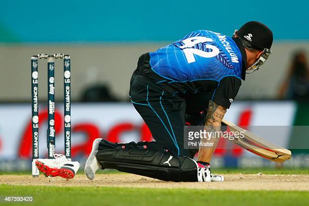 Brendon McCullum of New Zealand falls and looses his shoe during the 2015 Cricket World Cup Semi Final match between New Zealand and South Africa at...