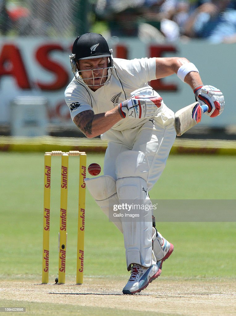 AFRICA - JANUARY 13, Brendon McCullum of New Zealand fends off a delivery during day 3 of the 2nd Test match between South Africa and New Zealand at Axxess St Georges on January 13, 2013 in Port Elizabeth, South Africa.