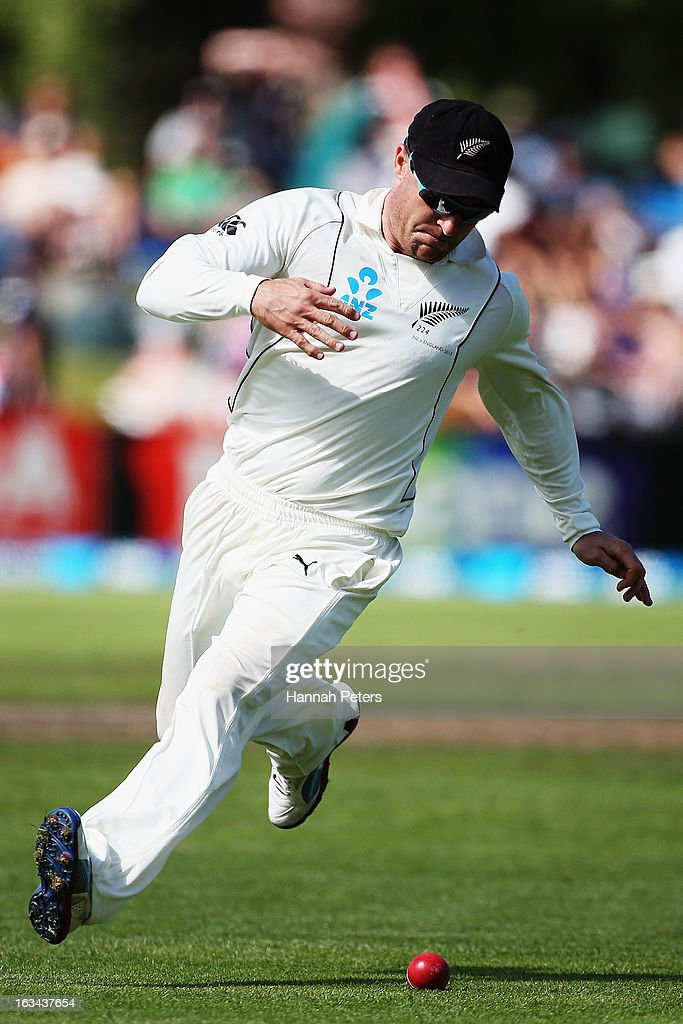Brendon McCullum of New Zealand fields during day five of the First Test match between New Zealand and England at University Oval on March 10, 2013 in Dunedin, New Zealand.