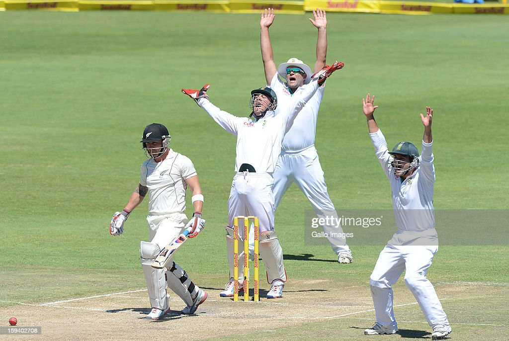 AFRICA - JANUARY 13, Brendon McCullum of New Zealand gets trapped lbw by Robin Petersen for 11 runs during day 3 of the 2nd Test match between South Africa and New Zealand at Axxess St Georges on January 13, 2013 in Port Elizabeth, South Africa.