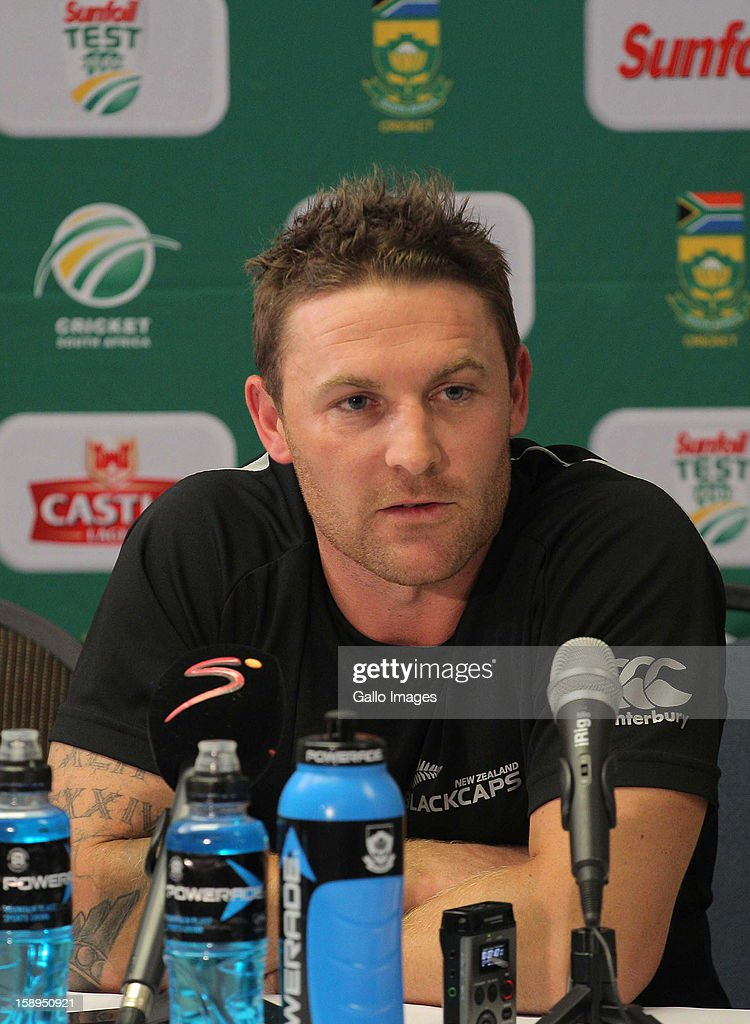 Brendon McCullum of New Zealand gives a post match interview during day 3 of the 1st Test between South Africa and New Zealand at Sahara Park Newlands on January 04, 2013 in Cape Town, South Africa.