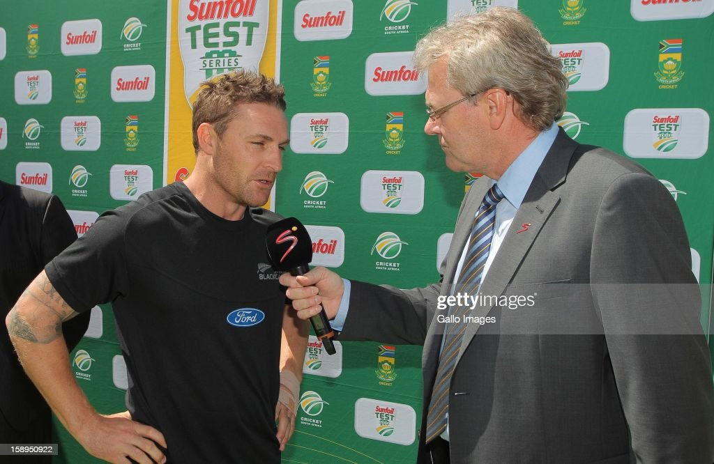 <a gi-track='captionPersonalityLinkClicked' href=/galleries/search?phrase=Brendon+McCullum&family=editorial&specificpeople=208154 ng-click='$event.stopPropagation()'>Brendon McCullum</a> of New Zealand gives a post match interview during day 3 of the 1st Test between South Africa and New Zealand at Sahara Park Newlands on January 04, 2013 in Cape Town, South Africa.