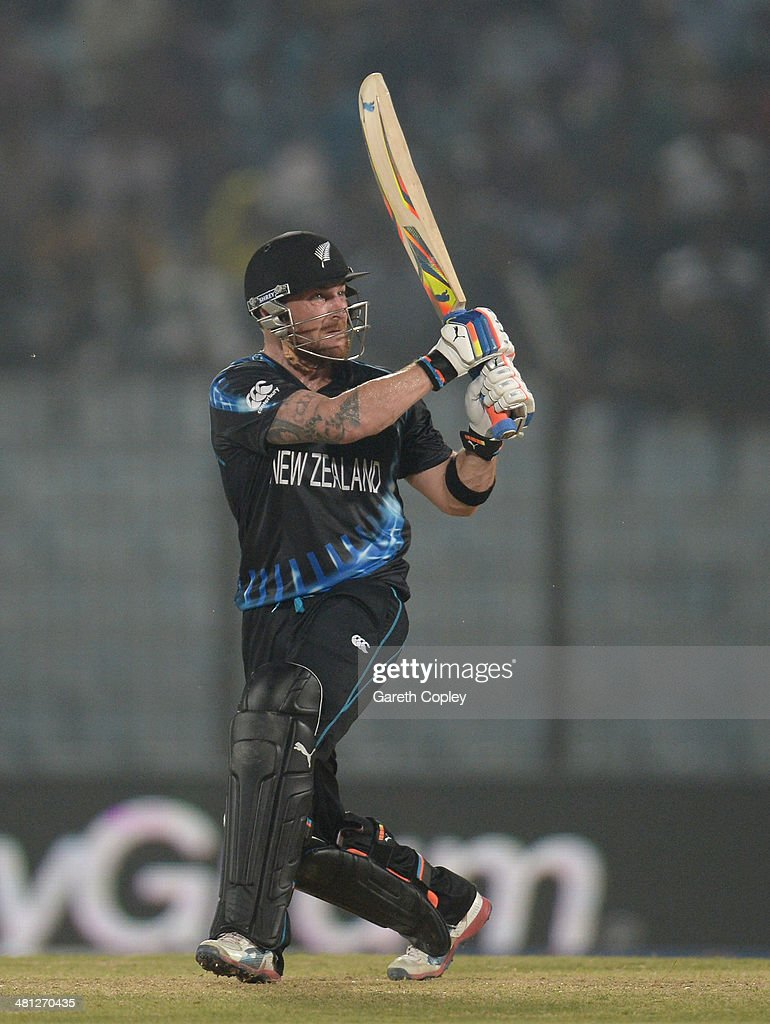 Brendon McCullum of New Zealand hits out for six runs during the ICC World Twenty20 Bangladesh 2014 Group 1 match between New Zealand and the...