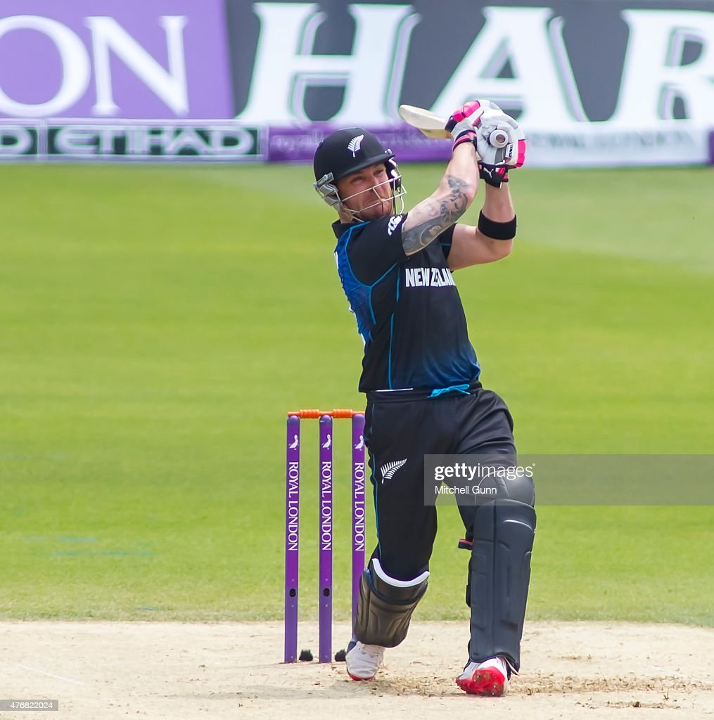 Brendon McCullum of New Zealand hits the ball for four runs during the second ODI Royal London OneDay Series 2015 between England and New Zealand at...