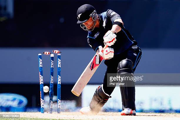 Brendon McCullum of New Zealand is bowled by James Faulkner of Australia during the One Day International match between New Zealand and Australia at...