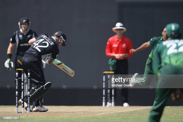 Brendon McCullum of New Zealand is bowled by Shoaib Akhtar during the New Zealand v Pakistan 2011 ICC World Cup Group A match at the Pallekele...