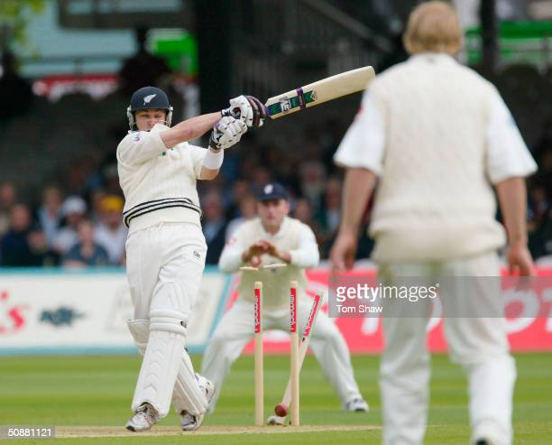 Brendon McCullum of New Zealand is bowled out by Simon Jones of England for five runs during the second day of the first npower test match between...