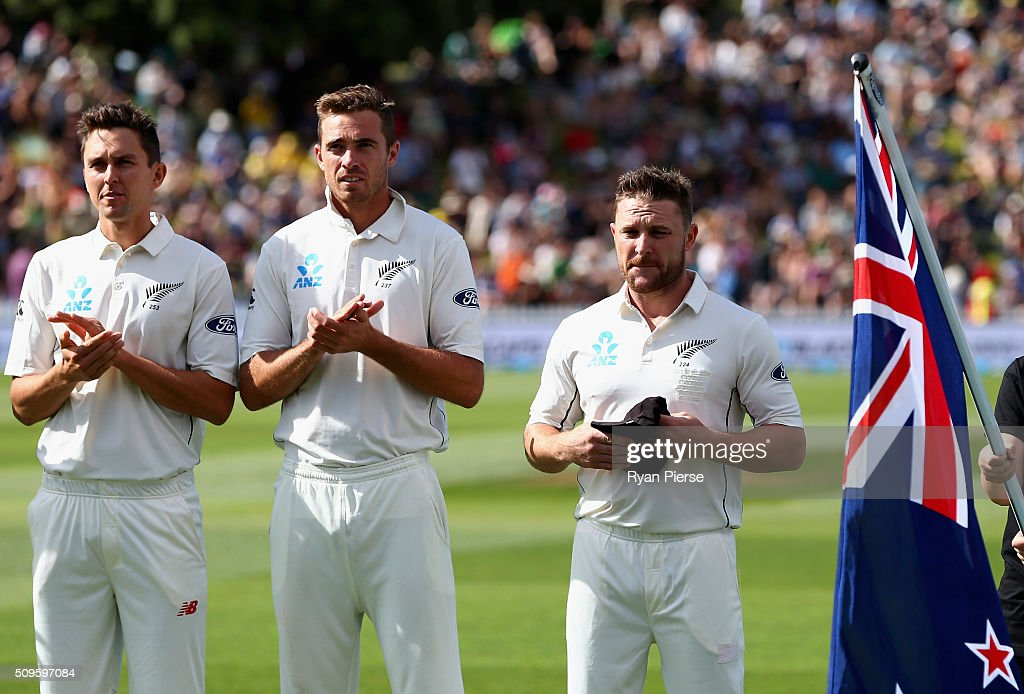 <a gi-track='captionPersonalityLinkClicked' href=/galleries/search?phrase=Brendon+McCullum&family=editorial&specificpeople=208154 ng-click='$event.stopPropagation()'>Brendon McCullum</a> of New Zealand is congratulated by his team mates after he was presented his 100th Test Cap during day one of the Test match between New Zealand and Australia at Basin Reserve on February 12, 2016 in Wellington, New Zealand.