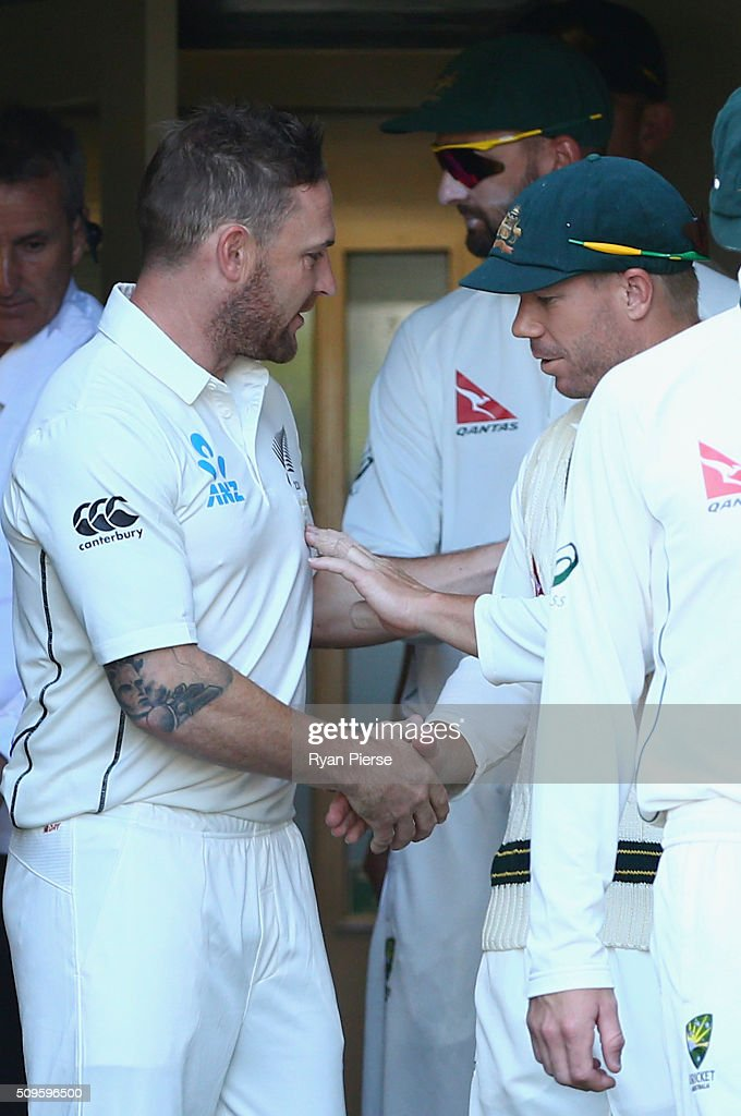 <a gi-track='captionPersonalityLinkClicked' href=/galleries/search?phrase=Brendon+McCullum&family=editorial&specificpeople=208154 ng-click='$event.stopPropagation()'>Brendon McCullum</a> of New Zealand is congratuled on his 100th test by <a gi-track='captionPersonalityLinkClicked' href=/galleries/search?phrase=David+Warner+-+Cricket+Player&family=editorial&specificpeople=4262255 ng-click='$event.stopPropagation()'>David Warner</a> of Australia during day one of the Test match between New Zealand and Australia at Basin Reserve on February 12, 2016 in Wellington, New Zealand.
