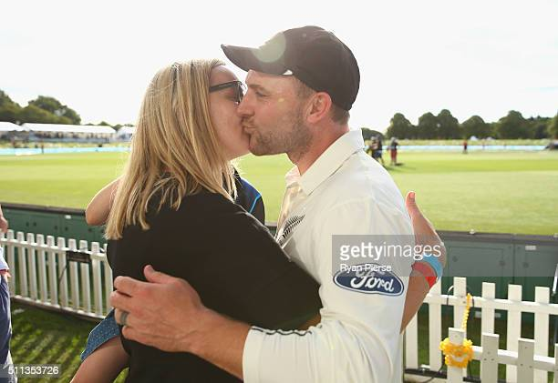 Brendon McCullum of New Zealand is congratulted by his wife Ellissa McCullum during day one of the Test match between New Zealand and Australia at...