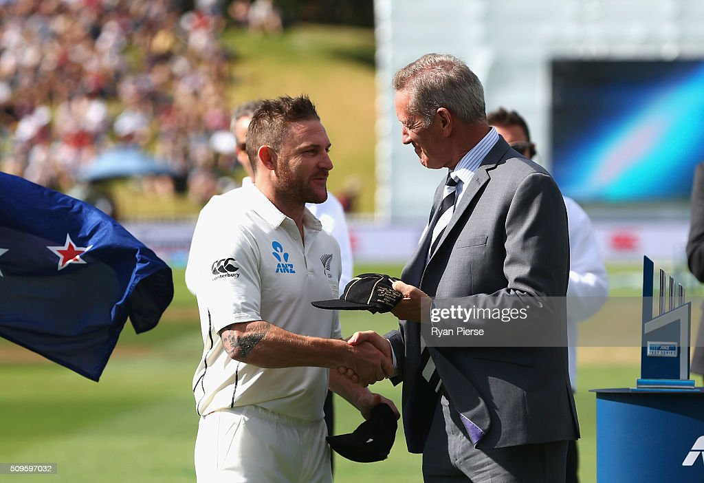 <a gi-track='captionPersonalityLinkClicked' href=/galleries/search?phrase=Brendon+McCullum&family=editorial&specificpeople=208154 ng-click='$event.stopPropagation()'>Brendon McCullum</a> of New Zealand is presented his 100th Test Cap by Stephen Boock, NZ Cricket President, during day one of the Test match between New Zealand and Australia at Basin Reserve on February 12, 2016 in Wellington, New Zealand.