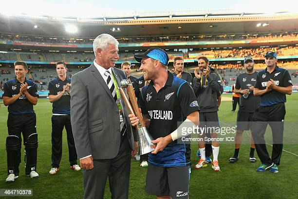 Brendon McCullum of New Zealand is presented the ChappellHadlee Trophy by Sir Richard Hadlee after winning the 2015 ICC Cricket World Cup match...