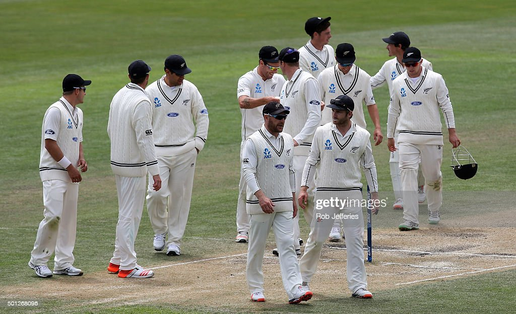 Brendon McCullum of New Zealand leads his team from the field after defeating Sri Lanka on day five of the First Test match between New Zealand and...