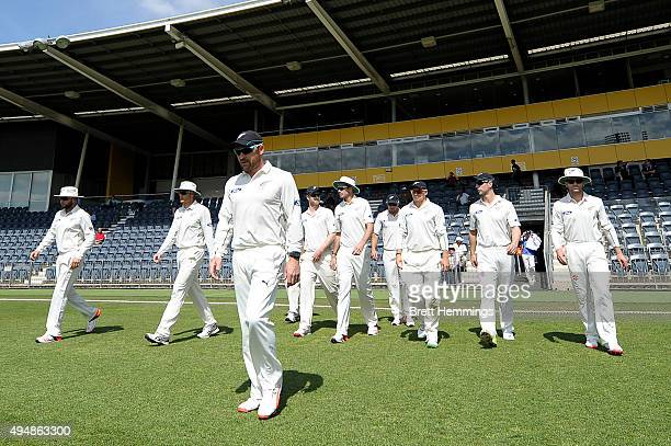 Brendon McCullum of New Zealand leads his team onto the field during the international tour match between the Cricket Australia XI and New Zealand at...