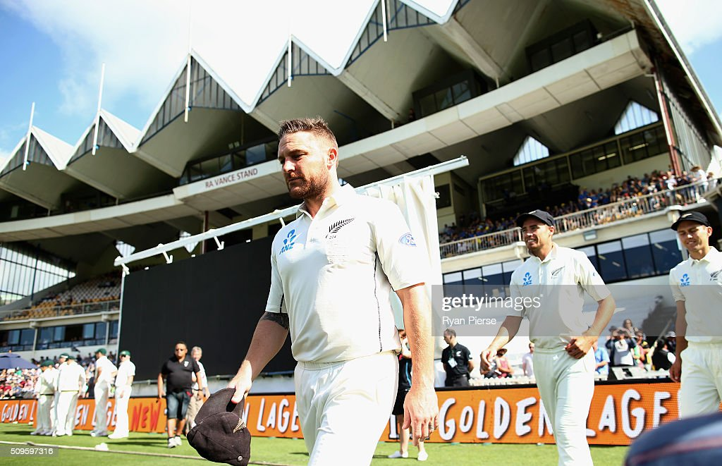 <a gi-track='captionPersonalityLinkClicked' href=/galleries/search?phrase=Brendon+McCullum&family=editorial&specificpeople=208154 ng-click='$event.stopPropagation()'>Brendon McCullum</a> of New Zealand leads his team out before his 100th Test during day one of the Test match between New Zealand and Australia at Basin Reserve on February 12, 2016 in Wellington, New Zealand.