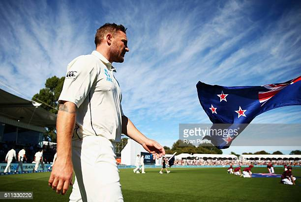 Brendon McCullum of New Zealand leads his team out in his final test match during day one of the Test match between New Zealand and Australia at...