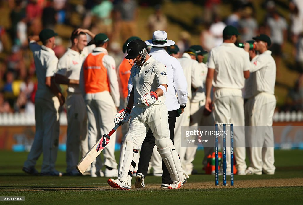 <a gi-track='captionPersonalityLinkClicked' href=/galleries/search?phrase=Brendon+McCullum&family=editorial&specificpeople=208154 ng-click='$event.stopPropagation()'>Brendon McCullum</a> of New Zealand leaves the ground after being dismissed by Mitch Marsh of Australia during day three of the Test match between New Zealand and Australia at Basin Reserve on February 14, 2016 in Wellington, New Zealand.