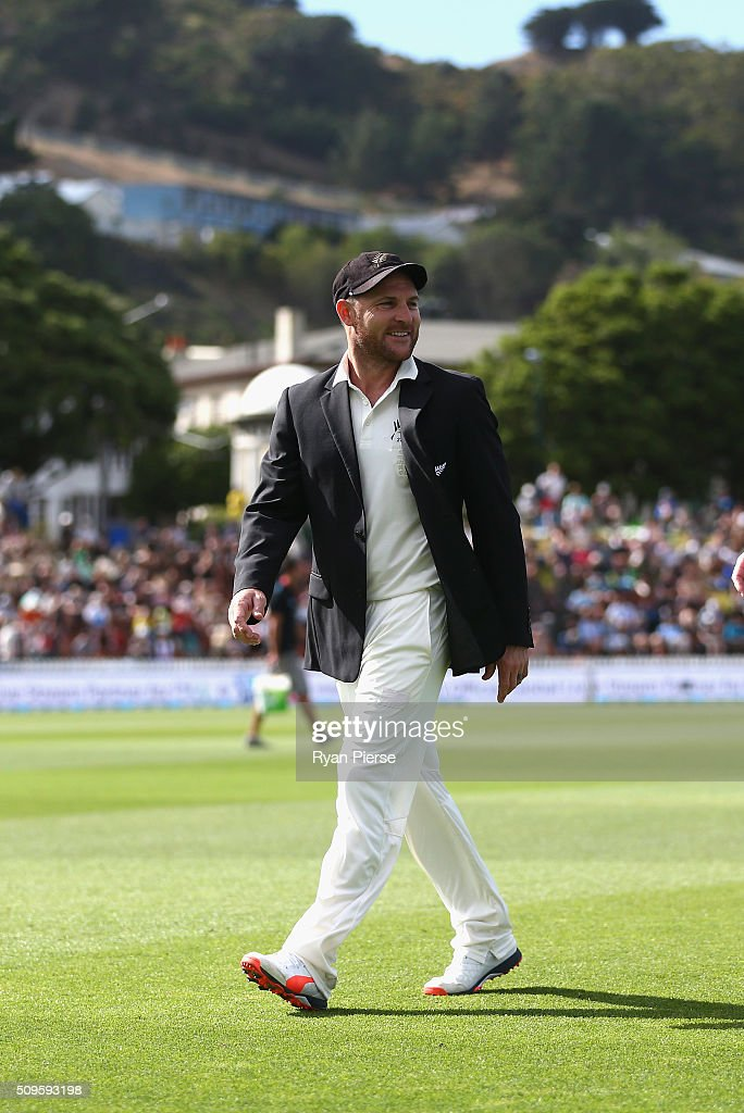 <a gi-track='captionPersonalityLinkClicked' href=/galleries/search?phrase=Brendon+McCullum&family=editorial&specificpeople=208154 ng-click='$event.stopPropagation()'>Brendon McCullum</a> of New Zealand looks on before his 100th Test during day one of the Test match between New Zealand and Australia at Basin Reserve on February 12, 2016 in Wellington, New Zealand.