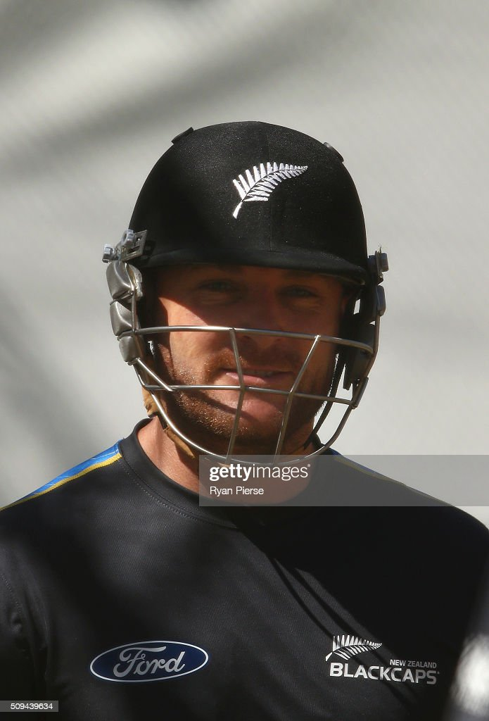 <a gi-track='captionPersonalityLinkClicked' href=/galleries/search?phrase=Brendon+McCullum&family=editorial&specificpeople=208154 ng-click='$event.stopPropagation()'>Brendon McCullum</a> of New Zealand looks on during a New Zealand nets session at Basin Reserve on February 11, 2016 in Wellington, New Zealand.