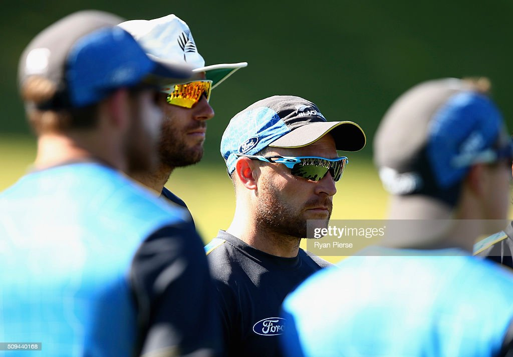 Brendon McCullum of New Zealand looks on during a New Zealand nets session at Basin Reserve on February 11, 2016 in Wellington, New Zealand.