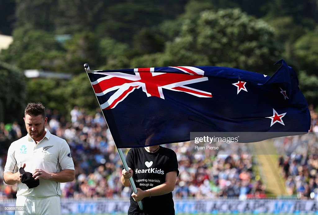 <a gi-track='captionPersonalityLinkClicked' href=/galleries/search?phrase=Brendon+McCullum&family=editorial&specificpeople=208154 ng-click='$event.stopPropagation()'>Brendon McCullum</a> of New Zealand looks on during the national anthem before his 100th Test during day one of the Test match between New Zealand and Australia at Basin Reserve on February 12, 2016 in Wellington, New Zealand.