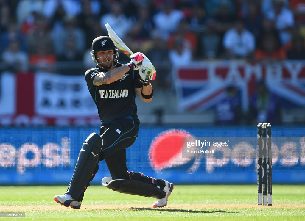 <a gi-track='captionPersonalityLinkClicked' href=/galleries/search?phrase=Brendon+McCullum&family=editorial&specificpeople=208154 ng-click='$event.stopPropagation()'>Brendon McCullum</a> of New Zealand plays a shot during the 2015 ICC Cricket World Cup match between England and New Zealand at Wellington Regional Stadium on February 20, 2015 in Wellington, New Zealand.
