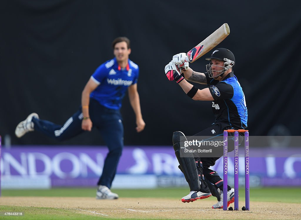 <a gi-track='captionPersonalityLinkClicked' href=/galleries/search?phrase=Brendon+McCullum&family=editorial&specificpeople=208154 ng-click='$event.stopPropagation()'>Brendon McCullum</a> of New Zealand plays a shot off the bowling oif <a gi-track='captionPersonalityLinkClicked' href=/galleries/search?phrase=Steven+Finn+-+Cricketer&family=editorial&specificpeople=7843917 ng-click='$event.stopPropagation()'>Steven Finn</a> of England during the 1st ODI Royal London One-Day Series 2015 match between England and NewZealand at Edgbaston on June 9, 2015 in Birmingham, England.