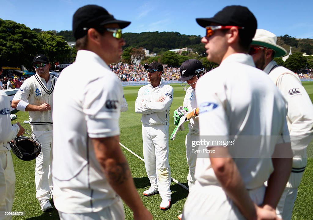 <a gi-track='captionPersonalityLinkClicked' href=/galleries/search?phrase=Brendon+McCullum&family=editorial&specificpeople=208154 ng-click='$event.stopPropagation()'>Brendon McCullum</a> of New Zealand prepares to address his team during day two of the Test match between New Zealand and Australia at Basin Reserve on February 13, 2016 in Wellington, New Zealand.