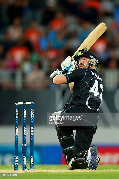Brendon McCullum of New Zealand ramps the ball over his head during the first T20 between New Zealand and the West Indies at Eden Park on January 11...