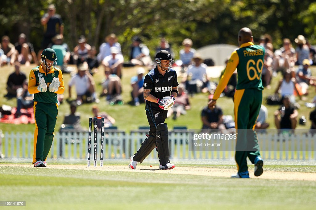 <a gi-track='captionPersonalityLinkClicked' href=/galleries/search?phrase=Brendon+McCullum&family=editorial&specificpeople=208154 ng-click='$event.stopPropagation()'>Brendon McCullum</a> of New Zealand reacts after being bowled by <a gi-track='captionPersonalityLinkClicked' href=/galleries/search?phrase=Aaron+Phangiso&family=editorial&specificpeople=7184692 ng-click='$event.stopPropagation()'>Aaron Phangiso</a> of South Africa during the ICC Cricket World Cup match between South Africa and New Zealand at Hagley Park on February 11, 2015 in Christchurch, New Zealand.
