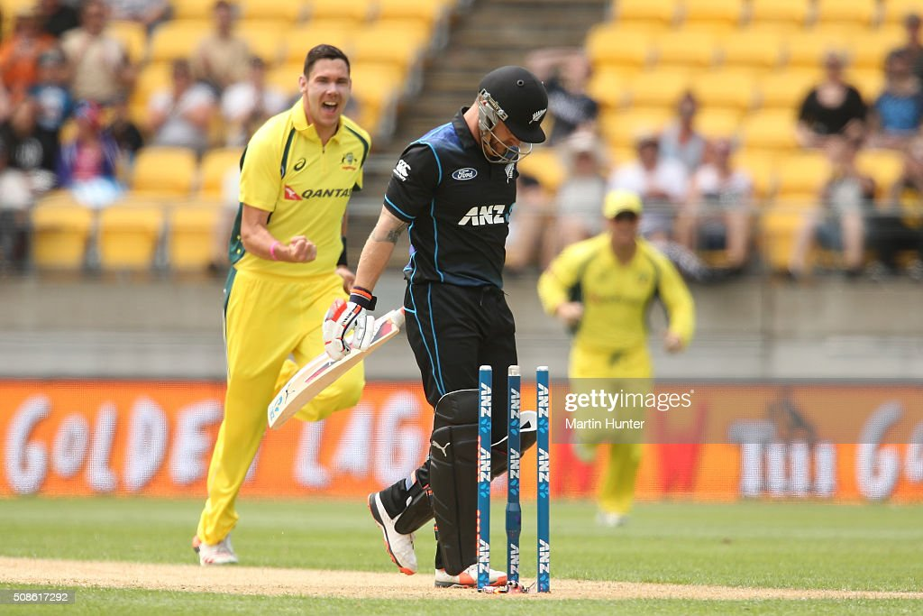 <a gi-track='captionPersonalityLinkClicked' href=/galleries/search?phrase=Brendon+McCullum&family=editorial&specificpeople=208154 ng-click='$event.stopPropagation()'>Brendon McCullum</a> of New Zealand reacts after being bowled by Scott Boland of Australia during game two of the one day international series between New Zealand and Australia at Westpac Stadium on February 6, 2016 in Wellington, New Zealand.