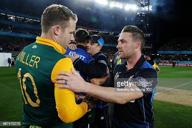 Brendon McCullum of New Zealand shakes hand with David Miller of South Africa after the 2015 Cricket World Cup Semi Final match between New Zealand...
