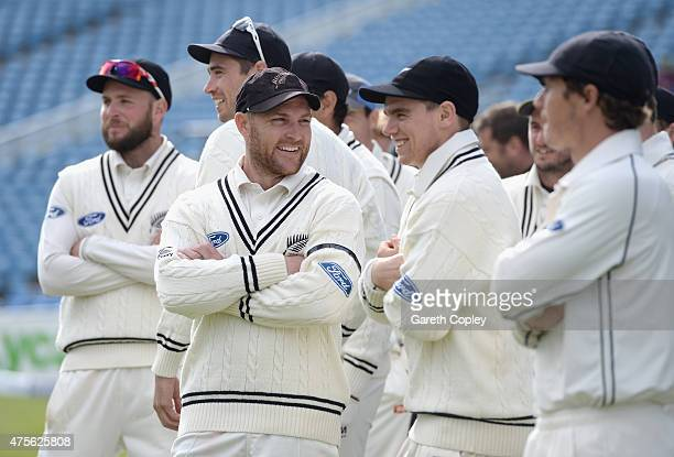 Brendon McCullum of New Zealand shares a joke with his team after winning 2nd Investec Test match between England and New Zealand at Headingley on...