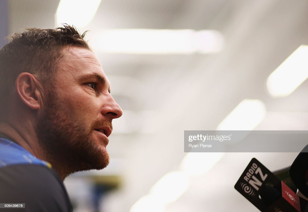 <a gi-track='captionPersonalityLinkClicked' href=/galleries/search?phrase=Brendon+McCullum&family=editorial&specificpeople=208154 ng-click='$event.stopPropagation()'>Brendon McCullum</a> of New Zealand speaks to the press during a New Zealand nets session at Basin Reserve on February 11, 2016 in Wellington, New Zealand.
