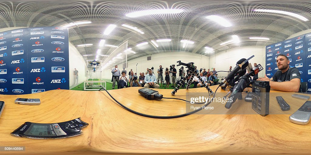 <a gi-track='captionPersonalityLinkClicked' href=/galleries/search?phrase=Brendon+McCullum&family=editorial&specificpeople=208154 ng-click='$event.stopPropagation()'>Brendon McCullum</a> of New Zealand speaks to the press during a New Zealand Press Conference at Basin Reserve on February 11, 2016 in Wellington, New Zealand.