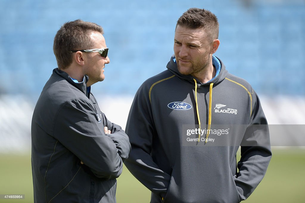 <a gi-track='captionPersonalityLinkClicked' href=/galleries/search?phrase=Brendon+McCullum&family=editorial&specificpeople=208154 ng-click='$event.stopPropagation()'>Brendon McCullum</a> of New Zealand speaks with coach <a gi-track='captionPersonalityLinkClicked' href=/galleries/search?phrase=Mike+Hesson&family=editorial&specificpeople=9567309 ng-click='$event.stopPropagation()'>Mike Hesson</a> during a nets session at Headingley Cricket Ground on May 28, 2015 in Leeds, United Kingdom.