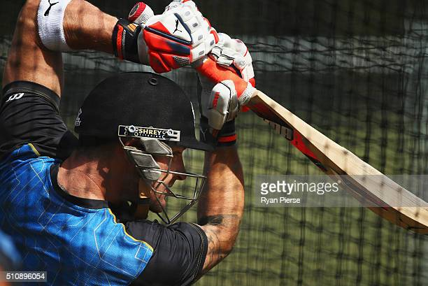 Brendon McCullum of New Zealand trains during a New Zealand nets session at Hagley Oval on February 18 2016 in Christchurch New Zealand