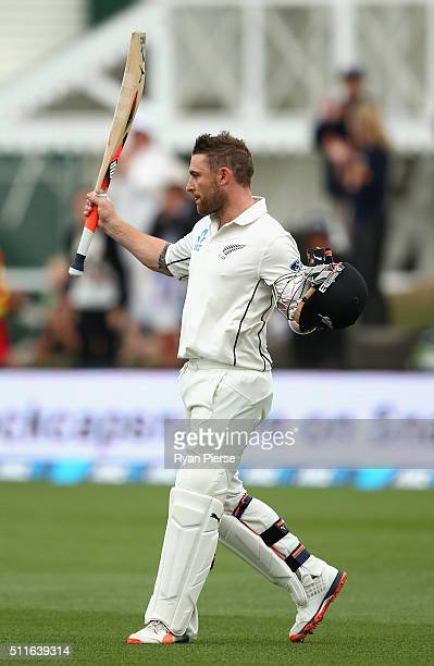 Brendon McCullum of New Zealand walks from the ground after his final test innings during day three of the Test match between New Zealand and...