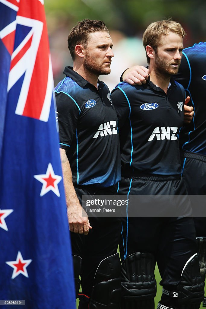 <a gi-track='captionPersonalityLinkClicked' href=/galleries/search?phrase=Brendon+McCullum&family=editorial&specificpeople=208154 ng-click='$event.stopPropagation()'>Brendon McCullum</a> of the Black Caps and <a gi-track='captionPersonalityLinkClicked' href=/galleries/search?phrase=Kane+Williamson&family=editorial&specificpeople=4738503 ng-click='$event.stopPropagation()'>Kane Williamson</a> of the Black Caps sing the national anthem during the 3rd One Day International cricket match between the New Zealand Black Caps and Australia at Seddon Park on February 8, 2016 in Hamilton, New Zealand.