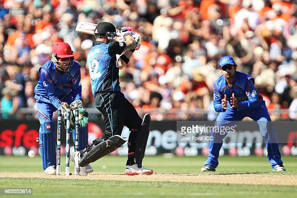 Brendon McCullum of the Black Caps is bowled out during the 2015 ICC Cricket World Cup match between New Zealand and Afghanistan at McLean Park on...