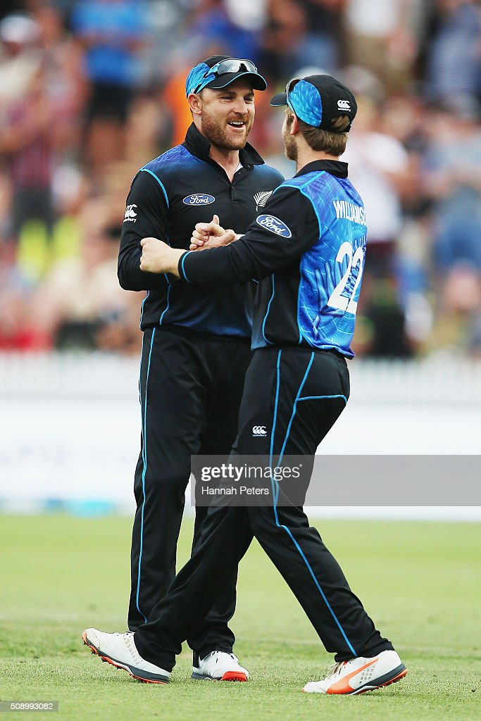 <a gi-track='captionPersonalityLinkClicked' href=/galleries/search?phrase=Brendon+McCullum&family=editorial&specificpeople=208154 ng-click='$event.stopPropagation()'>Brendon McCullum</a> of the Black Caps is congratulated on his last game by <a gi-track='captionPersonalityLinkClicked' href=/galleries/search?phrase=Kane+Williamson&family=editorial&specificpeople=4738503 ng-click='$event.stopPropagation()'>Kane Williamson</a> of the Black Caps during the 3rd One Day International cricket match between the New Zealand Black Caps and Australia at Seddon Park on February 8, 2016 in Hamilton, New Zealand.