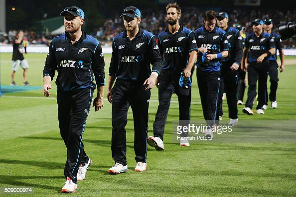 Brendon McCullum of the Black Caps leads the team off after winning the 3rd One Day International cricket match between the New Zealand Black Caps...
