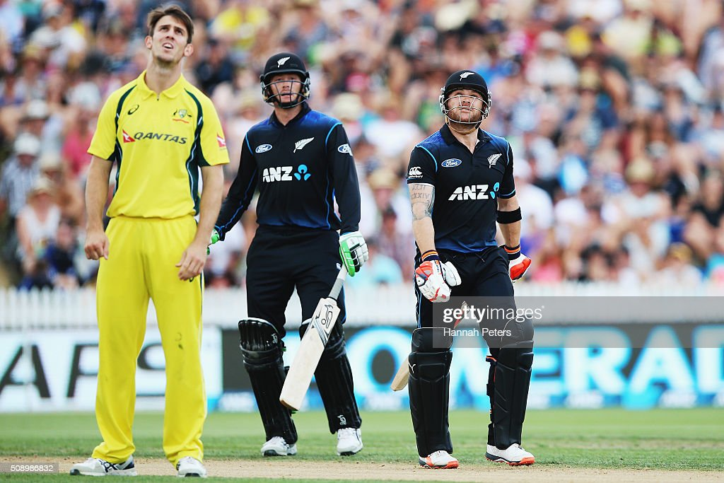 <a gi-track='captionPersonalityLinkClicked' href=/galleries/search?phrase=Brendon+McCullum&family=editorial&specificpeople=208154 ng-click='$event.stopPropagation()'>Brendon McCullum</a> of the Black Caps looks on as he is caught, dismissed by Mitchell Marsh of Australia during the 3rd One Day International cricket match between the New Zealand Black Caps and Australia at Seddon Park on February 8, 2016 in Hamilton, New Zealand.