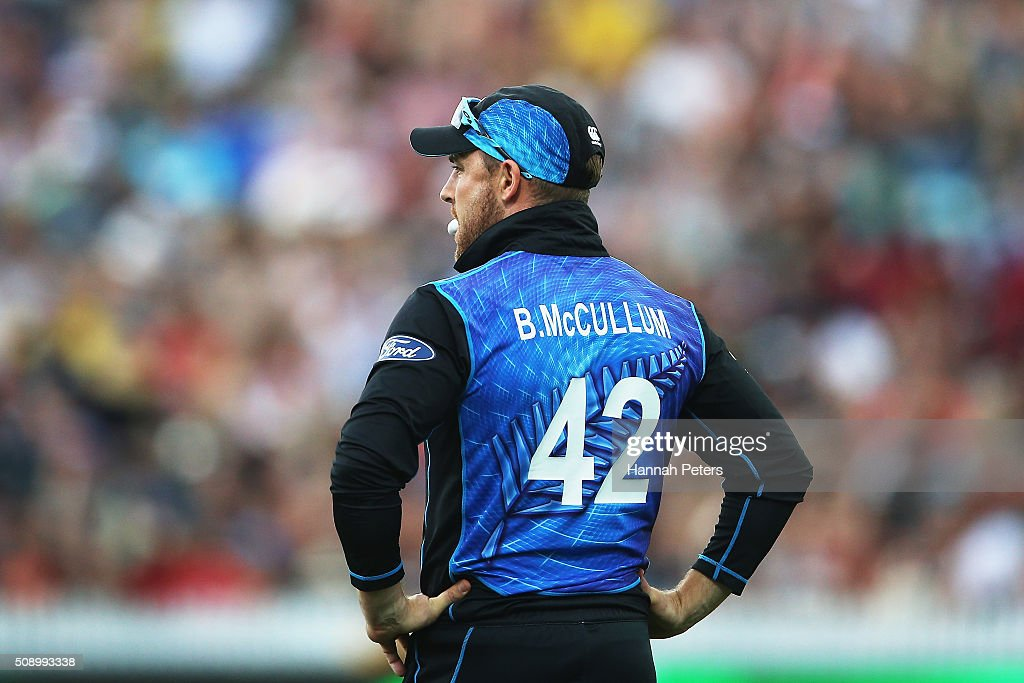 <a gi-track='captionPersonalityLinkClicked' href=/galleries/search?phrase=Brendon+McCullum&family=editorial&specificpeople=208154 ng-click='$event.stopPropagation()'>Brendon McCullum</a> of the Black Caps looks on during the 3rd One Day International cricket match between the New Zealand Black Caps and Australia at Seddon Park on February 8, 2016 in Hamilton, New Zealand.