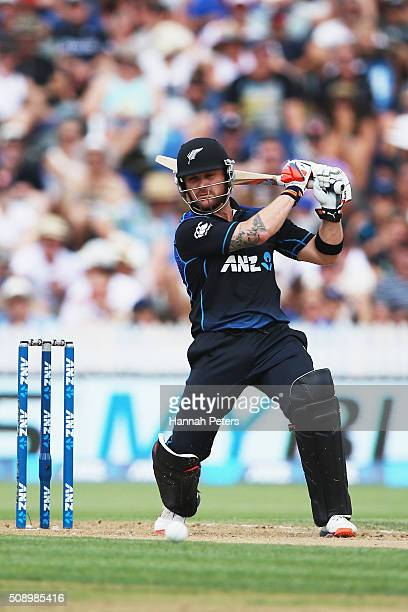 Brendon McCullum of the Black Caps plays the ball away for four runs during the 3rd One Day International cricket match between the New Zealand Black...